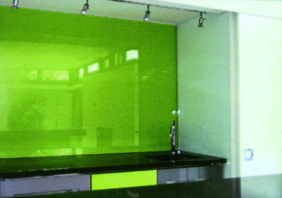 Green glass splash back