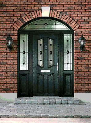 Black composite Door with brickwork