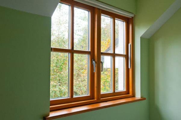 A wooden window sill