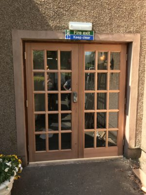 Wooden double opening doors
