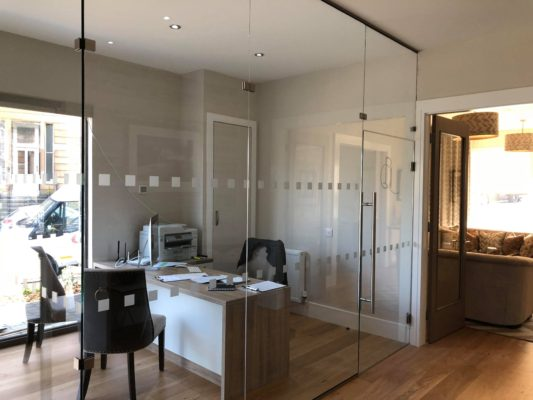Glass walls in a home office