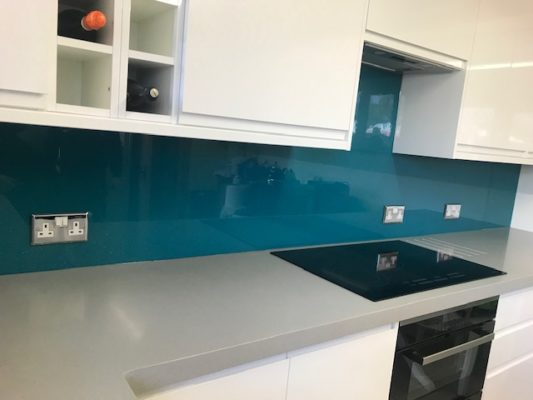 Blue Glass Kitchen Splashback