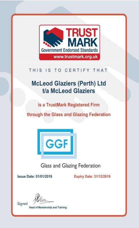 McLeod Glaziers TrustMark Certificate 2019