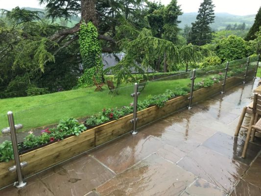 Glass balustrades in garden