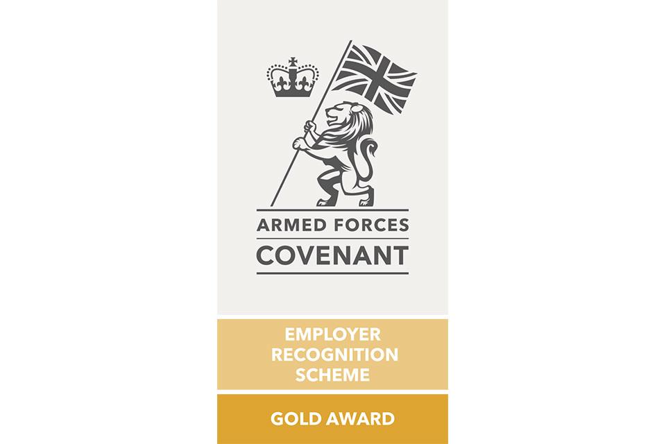 Gold Armed Forces Covenant Employer Recognition Scheme Gold Award Log